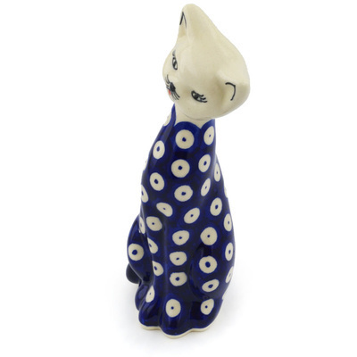 Polish Pottery 9-inch Cat Figurine | Boleslawiec Stoneware | Polmedia H0958H