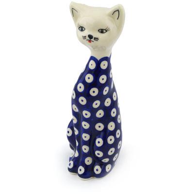 Polish Pottery 8-inch Cat Figurine | Boleslawiec Stoneware | Polmedia H0957H