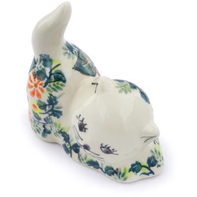 Polish Pottery 3-inch Cat Figurine | Boleslawiec Stoneware | Polmedia H6622F