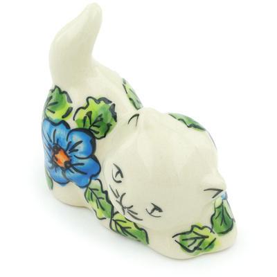 Polish Pottery 3-inch Cat Figurine | Boleslawiec Stoneware | Polmedia H6447F