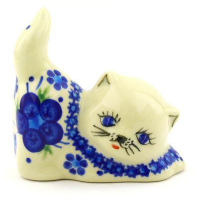 Polish Pottery 3-inch Cat Figurine | Boleslawiec Stoneware | Polmedia H6517F