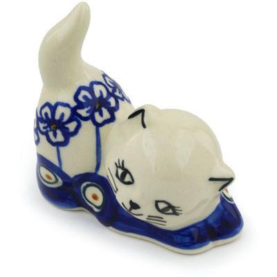 Polish Pottery 3-inch Cat Figurine | Boleslawiec Stoneware | Polmedia H0965H