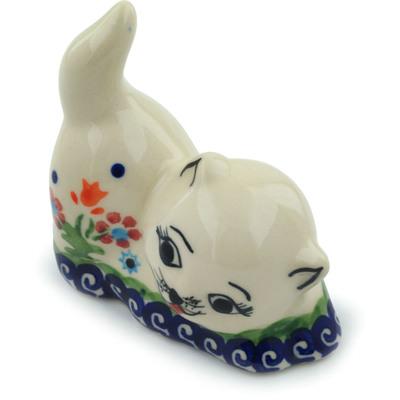 Polish Pottery 3-inch Cat Figurine | Boleslawiec Stoneware | Polmedia H3843E