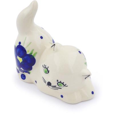 Polish Pottery 3-inch Cat Figurine | Boleslawiec Stoneware | Polmedia H1931G