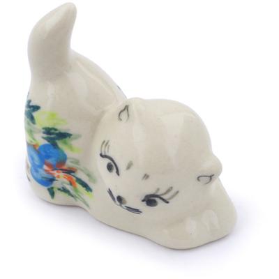 Polish Pottery 2-inch Cat Figurine   Boleslawiec Stoneware   Polmedia H7040I