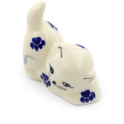 Polish Pottery 2-inch Cat Figurine   Boleslawiec Stoneware   Polmedia H1738G