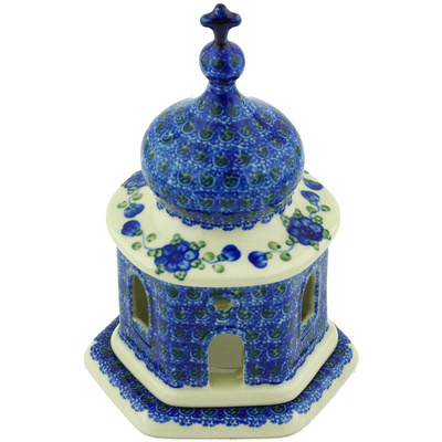 Polish Pottery 7-inch Chapel Candle Holder   Boleslawiec Stoneware   Polmedia H6499G