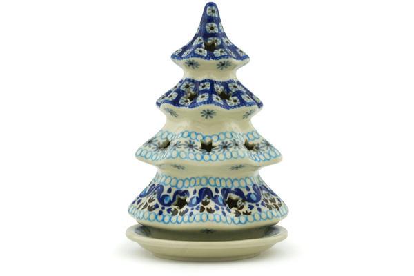 Polish Pottery 7-inch Christmas Tree Candle Holder