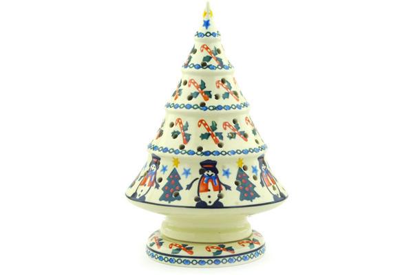 polish pottery 9 inch christmas tree candle holder