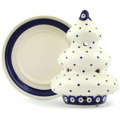 Polish Pottery 6-inch Christmas Tree Candle Holder | Boleslawiec Stoneware | Polmedia H4233I