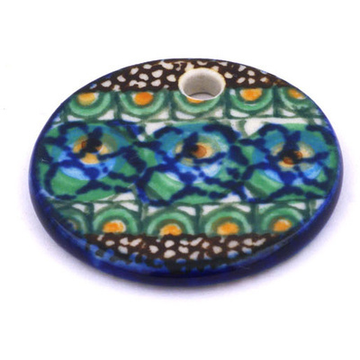 Polish Pottery 1-inch Circle Pendant | Boleslawiec Stoneware | Polmedia H6680G