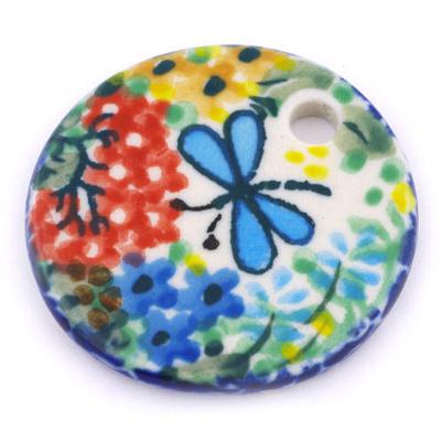 Polish Pottery 1-inch Circle Pendant | Boleslawiec Stoneware | Polmedia H6566G