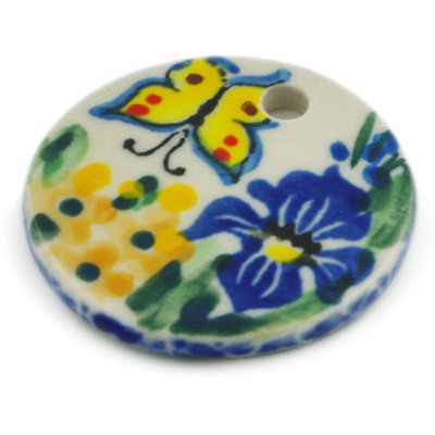 Polish Pottery 1-inch Circle Pendant | Boleslawiec Stoneware | Polmedia H6633G