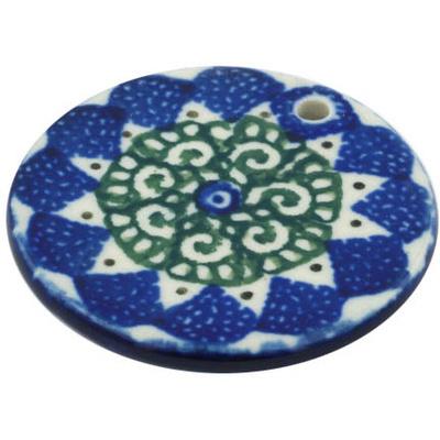 Polish Pottery 2-inch Circle Pendant | Boleslawiec Stoneware | Polmedia H8460F
