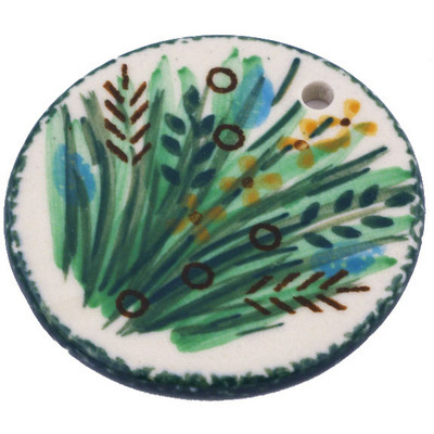Polish Pottery 2-inch Circle Pendant | Boleslawiec Stoneware | Polmedia H6294G