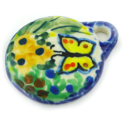 Polish Pottery 2-inch Circle Pendant | Boleslawiec Stoneware | Polmedia H4611G