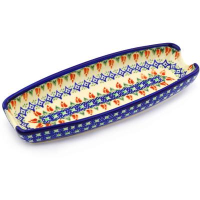 Polish Pottery 9-inch Corn Tray | Boleslawiec Stoneware | Polmedia H1712G