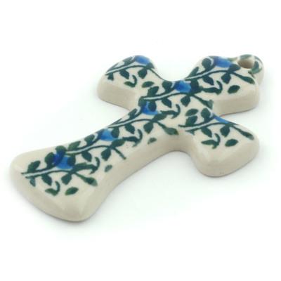 Polish Pottery 3-inch Cross | Boleslawiec Stoneware | Polmedia H1845I