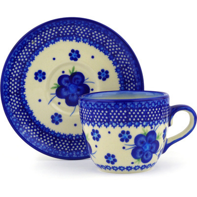 Polish Pottery 7 oz Cup with Saucer | Boleslawiec Stoneware | Polmedia H7558F