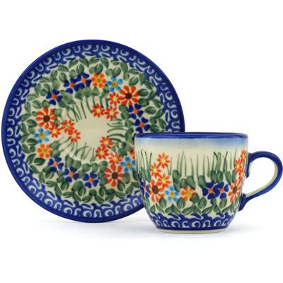 Polish Pottery 7 oz Cup with Saucer | Boleslawiec Stoneware | Polmedia H3533H
