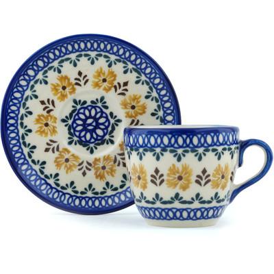 Polish Pottery 7 oz Cup with Saucer | Boleslawiec Stoneware | Polmedia H0328I