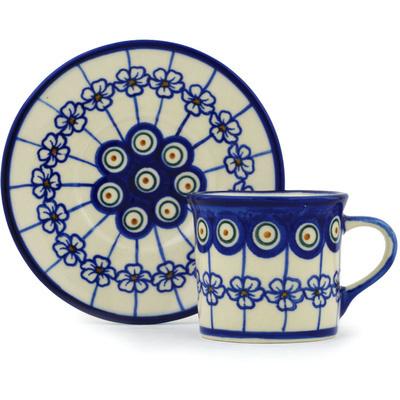 Polish Pottery 6 oz Cup with Saucer | Boleslawiec Stoneware | Polmedia H0440H