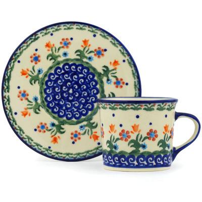 Polish Pottery 6 oz Cup with Saucer | Boleslawiec Stoneware | Polmedia H0468H