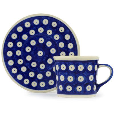 Polish Pottery 6 oz Cup with Saucer | Boleslawiec Stoneware | Polmedia H0452H