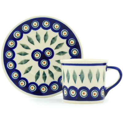 Polish Pottery 6 oz Cup with Saucer | Boleslawiec Stoneware | Polmedia H3524H