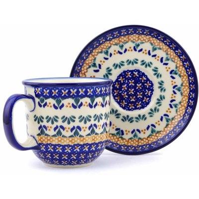 Polish Pottery 7 oz Cup with Saucer | Boleslawiec Stoneware | Polmedia H0695J