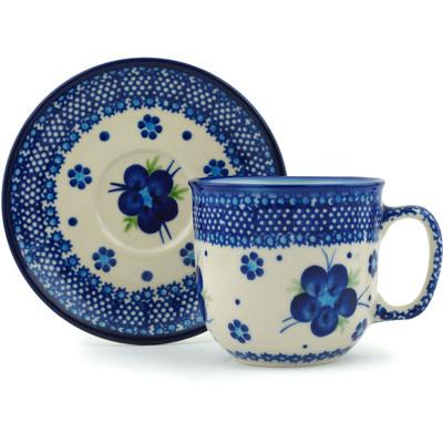 Polish Pottery 7 oz Cup with Saucer | Boleslawiec Stoneware | Polmedia H0390C