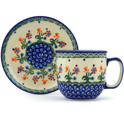 Polish Pottery 7 oz Cup with Saucer | Boleslawiec Stoneware | Polmedia H3611H