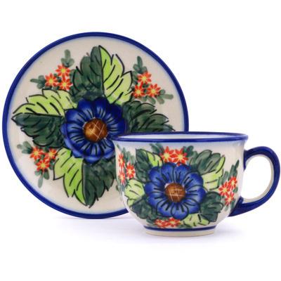 Polish Pottery 7 oz Cup with Saucer | Boleslawiec Stoneware | Polmedia H0407H