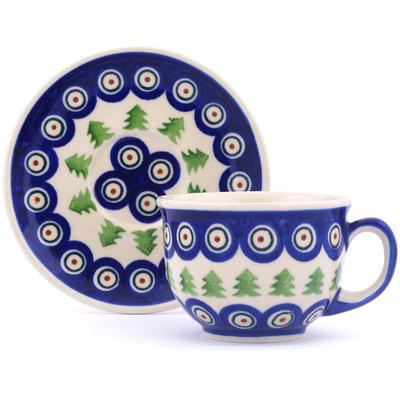 Polish Pottery 7 oz Cup with Saucer   Boleslawiec Stoneware   Polmedia H0409H