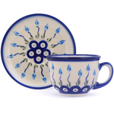 Polish Pottery 7 oz Cup with Saucer | Boleslawiec Stoneware | Polmedia H0380H