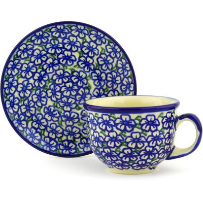 Polish Pottery 7 oz Cup with Saucer | Boleslawiec Stoneware | Polmedia H2533G