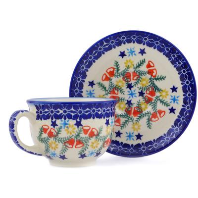Polish Pottery 7 oz Cup with Saucer   Boleslawiec Stoneware   Polmedia H2883J