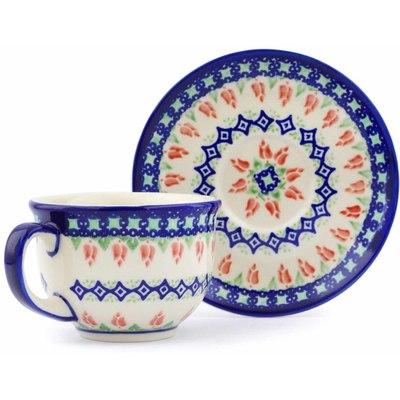 Polish Pottery 7 oz Cup with Saucer | Boleslawiec Stoneware | Polmedia H0681J