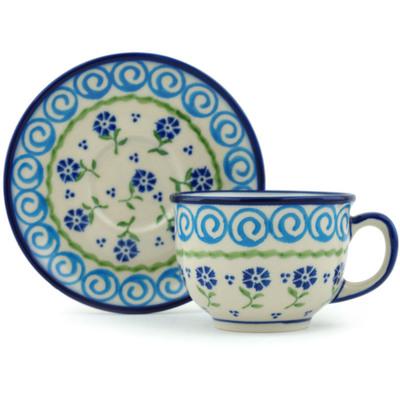 Polish Pottery 7 oz Cup with Saucer   Boleslawiec Stoneware   Polmedia H0334I