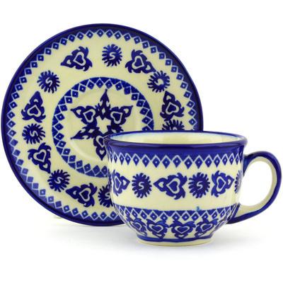 Polish Pottery 7 oz Cup with Saucer | Boleslawiec Stoneware | Polmedia H7384G