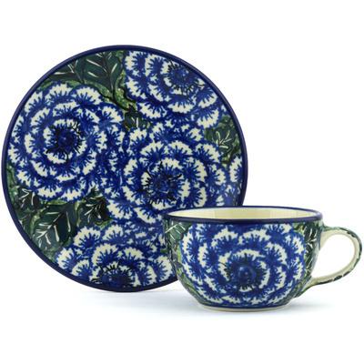 Polish Pottery 7 oz Cup with Saucer | Boleslawiec Stoneware | Polmedia H0762G