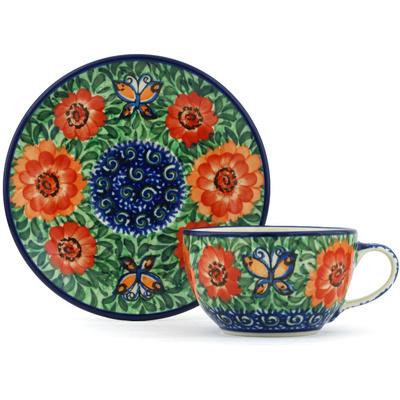 Polish Pottery 7 oz Cup with Saucer | Boleslawiec Stoneware | Polmedia H8933G