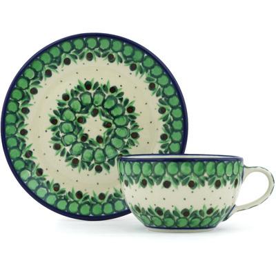 Polish Pottery 7 oz Cup with Saucer | Boleslawiec Stoneware | Polmedia H8901G