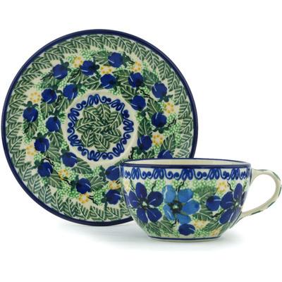 Polish Pottery 7 oz Cup with Saucer | Boleslawiec Stoneware | Polmedia H0036G
