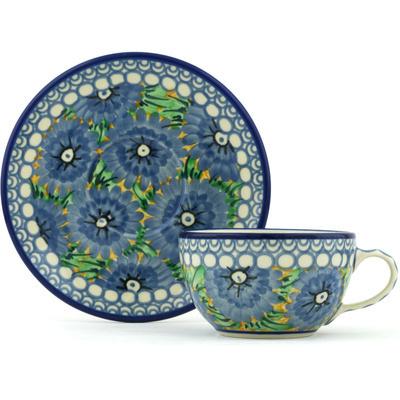 Polish Pottery 7 oz Cup with Saucer | Boleslawiec Stoneware | Polmedia H2182H