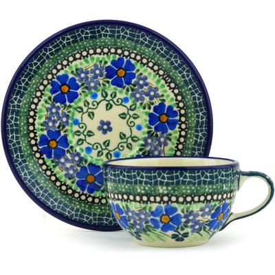 Polish Pottery 7 oz Cup with Saucer | Boleslawiec Stoneware | Polmedia H4406F