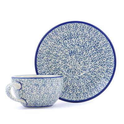 Polish Pottery 7 oz Cup with Saucer | Boleslawiec Stoneware | Polmedia H8066B