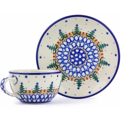 Polish Pottery 7 oz Cup with Saucer | Boleslawiec Stoneware | Polmedia H8601A