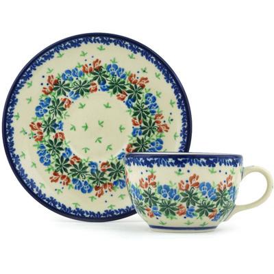 Polish Pottery 4 oz Cup with Saucer | Boleslawiec Stoneware | Polmedia H1694H