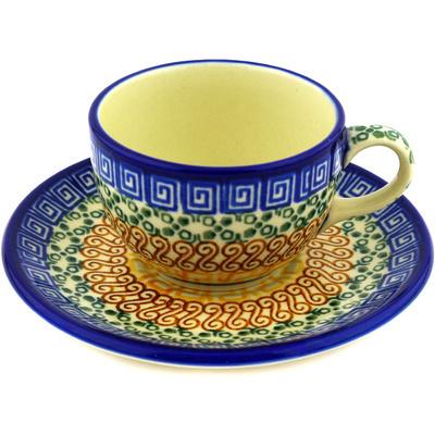 Polish Pottery 4 oz Cup with Saucer | Boleslawiec Stoneware | Polmedia H1627D